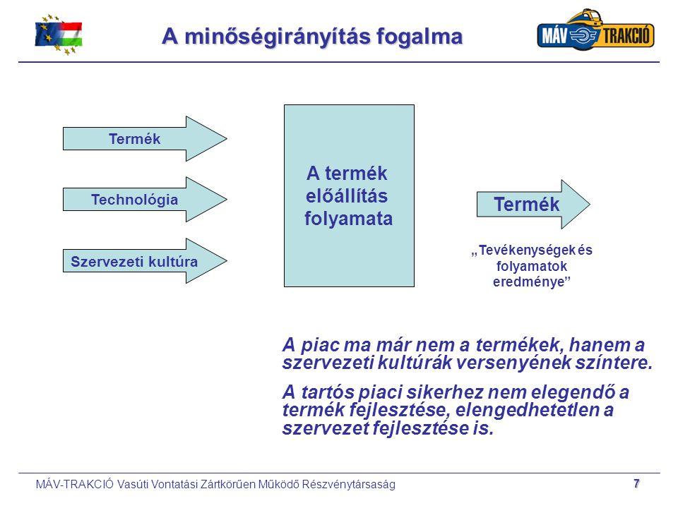 MÁV-TRAKCIÓ Vasúti Vontatási Zártkörűen Működő Részvénytársaság 7 A minőségirányítás fogalma A piac ma már nem a termékek, hanem a szervezeti kultúrák