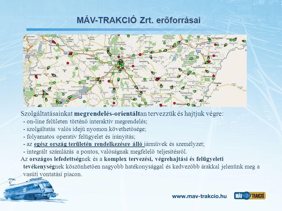 MÁV-TRAKCIÓ Zrt. erőforrásai Szolgáltatásainkat megrendelés-orientáltan tervezzük és hajtjuk végre: - on-line felületen történő interaktív megrendelés