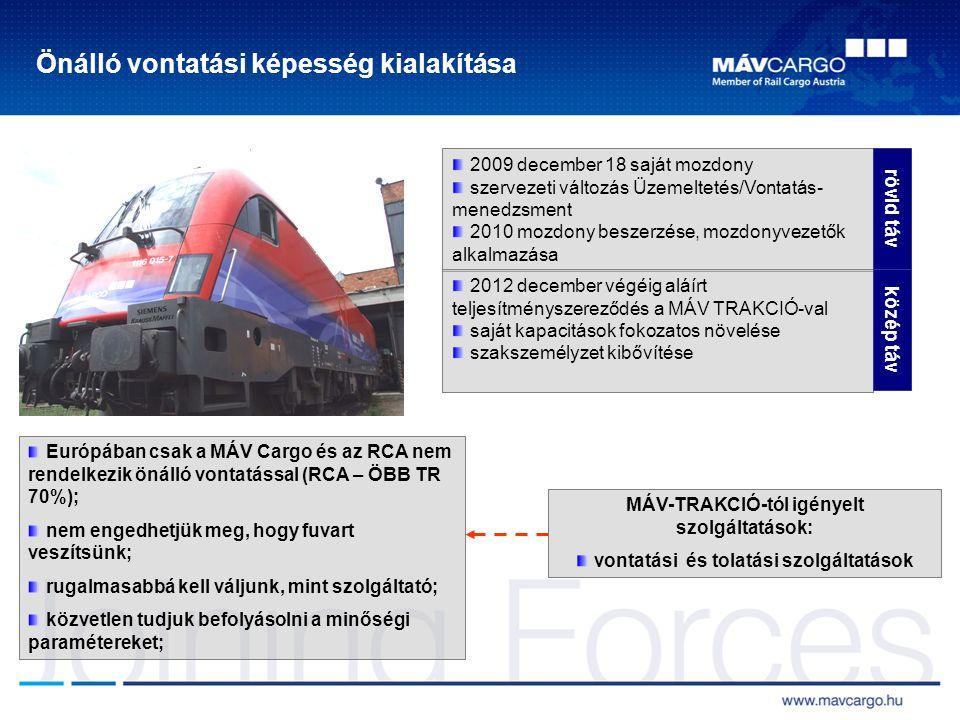 Önálló vontatási képesség kialakítása Európában csak a MÁV Cargo és az RCA nem rendelkezik önálló vontatással (RCA – ÖBB TR 70%); nem engedhetjük meg,
