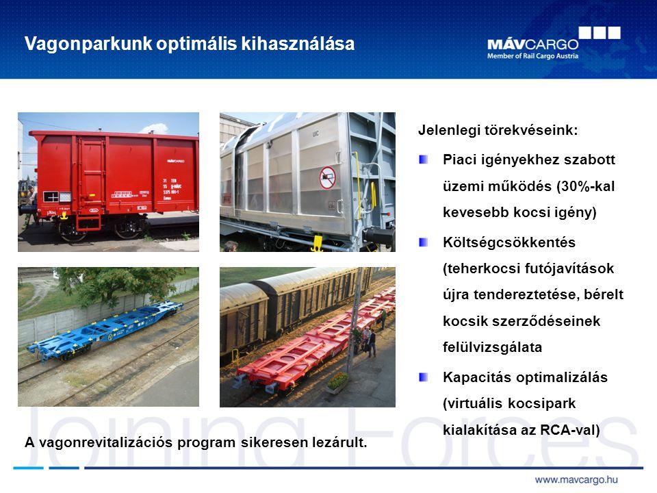 Vagonparkunk optimális kihasználása Jelenlegi törekvéseink: Piaci igényekhez szabott üzemi működés (30%-kal kevesebb kocsi igény) Költségcsökkentés (teherkocsi futójavítások újra tendereztetése, bérelt kocsik szerződéseinek felülvizsgálata Kapacitás optimalizálás (virtuális kocsipark kialakítása az RCA-val) A vagonrevitalizációs program sikeresen lezárult.