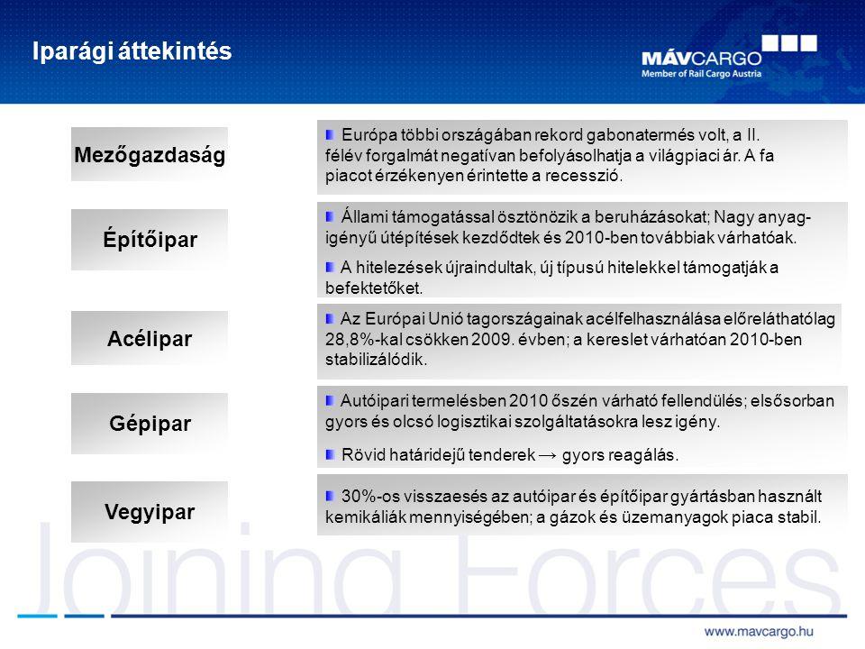 Iparági áttekintés Építőipar Mezőgazdaság Acélipar Európa többi országában rekord gabonatermés volt, a II.