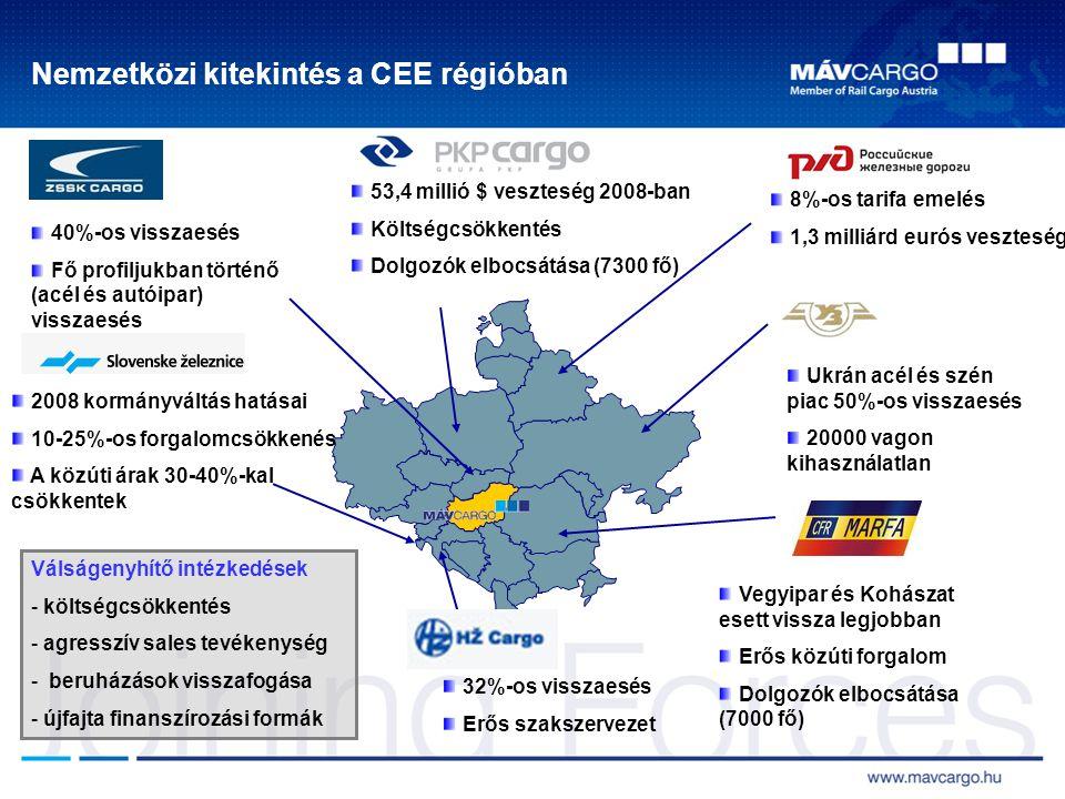 Nemzetközi kitekintés a CEE régióban 32%-os visszaesés Erős szakszervezet Vegyipar és Kohászat esett vissza legjobban Erős közúti forgalom Dolgozók elbocsátása (7000 fő) 2008 kormányváltás hatásai 10-25%-os forgalomcsökkenés A közúti árak 30-40%-kal csökkentek 40%-os visszaesés Fő profiljukban történő (acél és autóipar) visszaesés Ukrán acél és szén piac 50%-os visszaesés 20000 vagon kihasználatlan 8%-os tarifa emelés 1,3 milliárd eurós veszteség 53,4 millió $ veszteség 2008-ban Költségcsökkentés Dolgozók elbocsátása (7300 fő) Válságenyhítő intézkedések - költségcsökkentés - agresszív sales tevékenység - beruházások visszafogása - újfajta finanszírozási formák