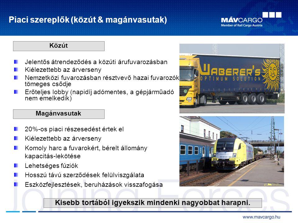 MÁV Cargóra ható külső tényezők ALKALMAZKODÁS A piaci igények diktálnak: - költséghatékony működés - gyors és megbízható szolgáltatási színvonal biztosítása trakciós szolgáltatások gépészeti szolgáltatások pályahasználat csökkenő fuvarigény offenzív piaci viselkedés kevés EU támogatás biztos befektetői háttér új stratégia kialakítása együttműködés gazdasági környezetprivatizációMÁV Kapcsolat