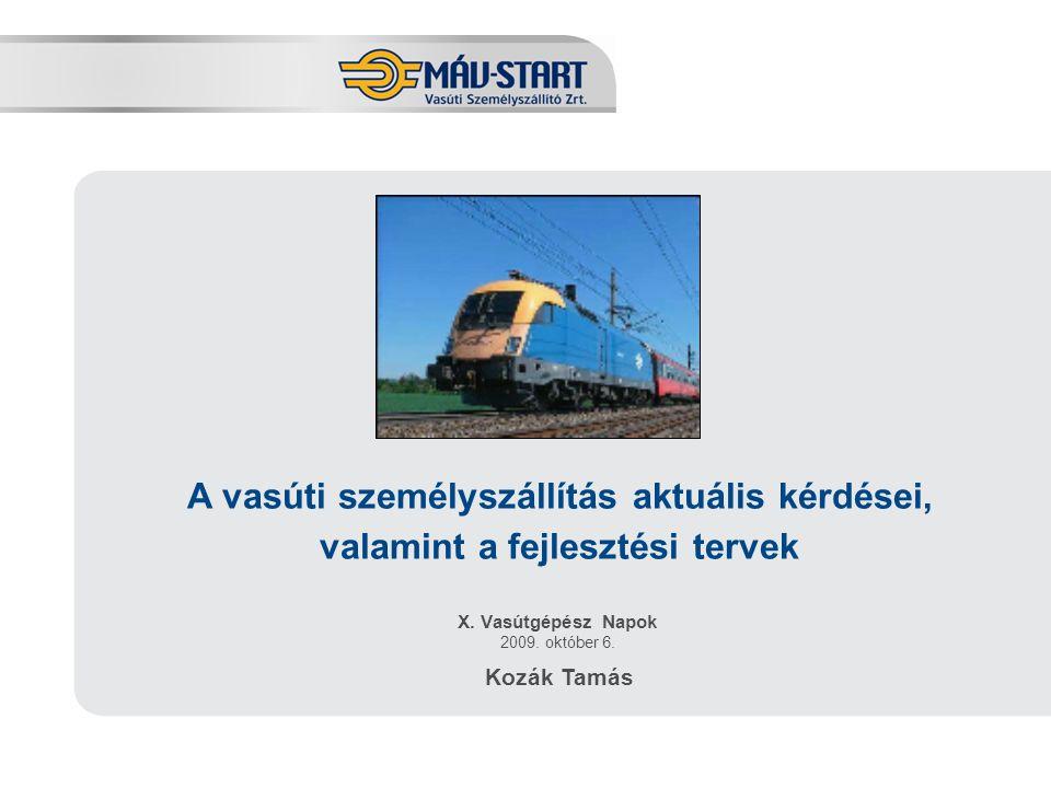 Előadó: Kozák Tamás X. Vasútgépész Napok 2009. október 6. Kozák Tamás A vasúti személyszállítás aktuális kérdései, valamint a fejlesztési tervek