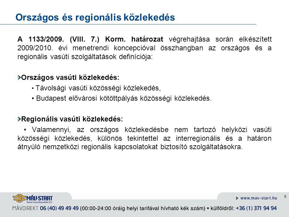 9 Országos és regionális közlekedés A 1133/2009. (VIII. 7.) Korm. határozat végrehajtása során elkészített 2009/2010. évi menetrendi koncepcióval össz