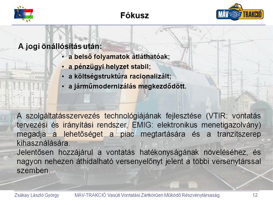 Zsákay László György MÁV-TRAKCIÓ Vasúti Vontatási Zártkörűen Működő Részvénytársaság12Fókusz A jogi önállósítás után: a belső folyamatok átláthatóak;