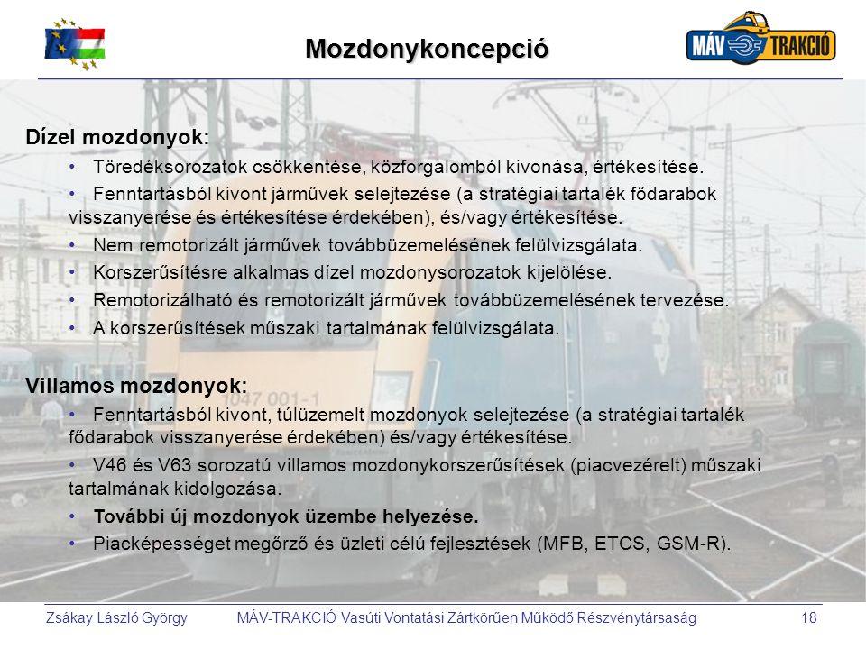 Zsákay László György MÁV-TRAKCIÓ Vasúti Vontatási Zártkörűen Működő Részvénytársaság18Mozdonykoncepció Dízel mozdonyok: Töredéksorozatok csökkentése,