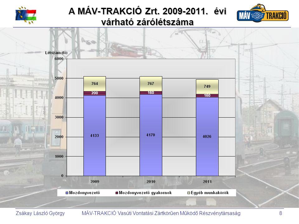 Zsákay László György MÁV-TRAKCIÓ Vasúti Vontatási Zártkörűen Működő Részvénytársaság8 A MÁV-TRAKCIÓ Zrt. 2009-2011. évi várható zárólétszáma
