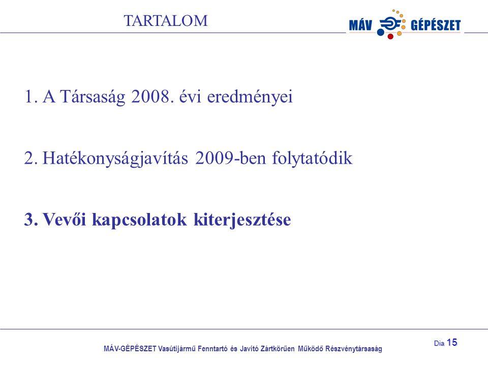 MÁV-GÉPÉSZET Vasútijármű Fenntartó és Javító Zártkörűen Működő Részvénytársaság Dia 15 1.A Társaság 2008. évi eredményei 2.Hatékonyságjavítás 2009-ben