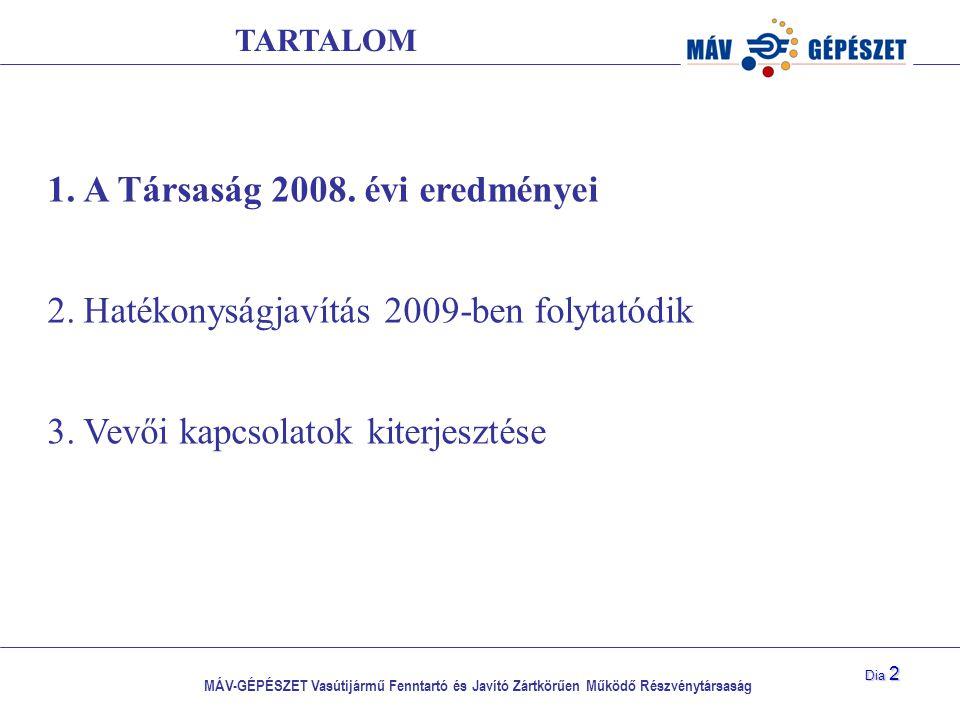 MÁV-GÉPÉSZET Vasútijármű Fenntartó és Javító Zártkörűen Működő Részvénytársaság Dia 2 1.A Társaság 2008. évi eredményei 2.Hatékonyságjavítás 2009-ben