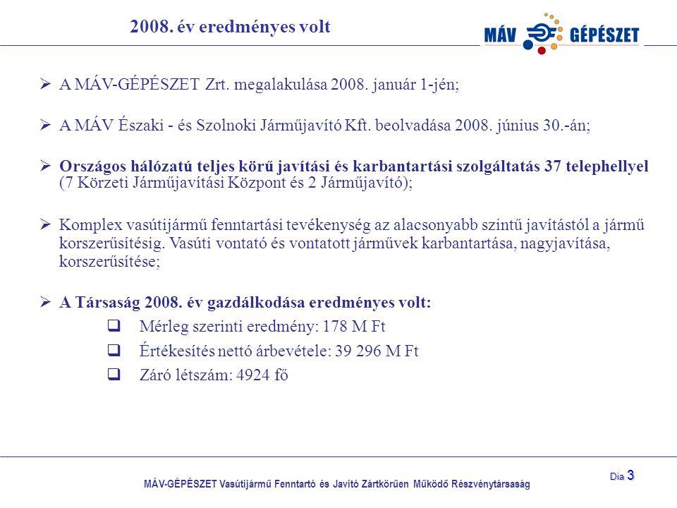 MÁV-GÉPÉSZET Vasútijármű Fenntartó és Javító Zártkörűen Működő Részvénytársaság Dia 3 2008. év eredményes volt  A MÁV-GÉPÉSZET Zrt. megalakulása 2008