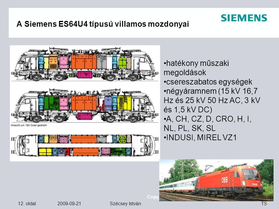 12. oldal 2009-09-21 Copyright © Siemens Zrt. 2008. Minden jog fenntartva. TS Szécsey István A Siemens ES64U4 típusú villamos mozdonyai hatékony műsza