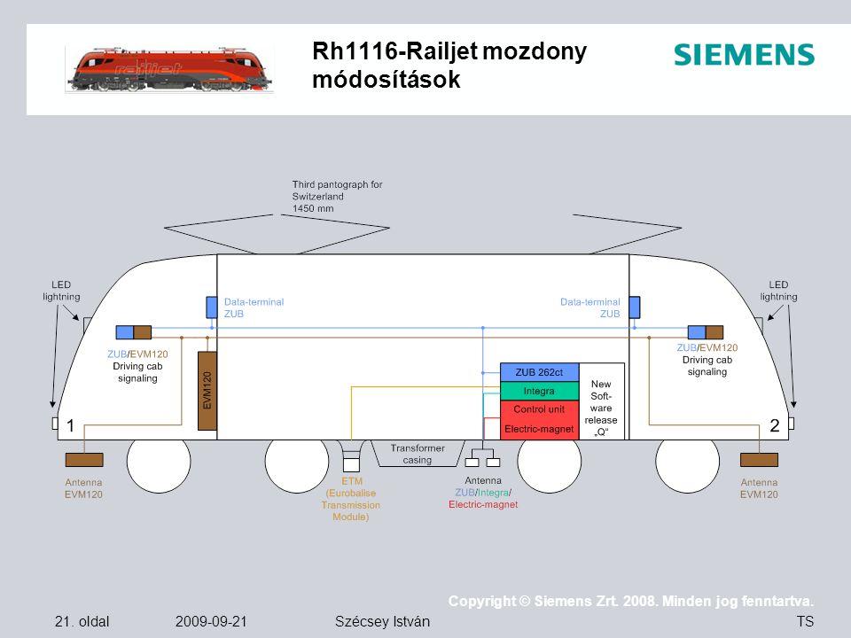 21. oldal 2009-09-21 Copyright © Siemens Zrt. 2008. Minden jog fenntartva. TS Szécsey István Rh1116-Railjet mozdony módosítások