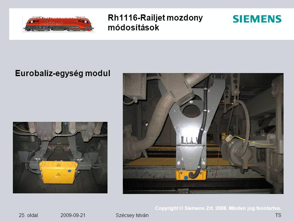 25. oldal 2009-09-21 Copyright © Siemens Zrt. 2008. Minden jog fenntartva. TS Szécsey István Rh1116-Railjet mozdony módosítások Eurobalíz-egység modul