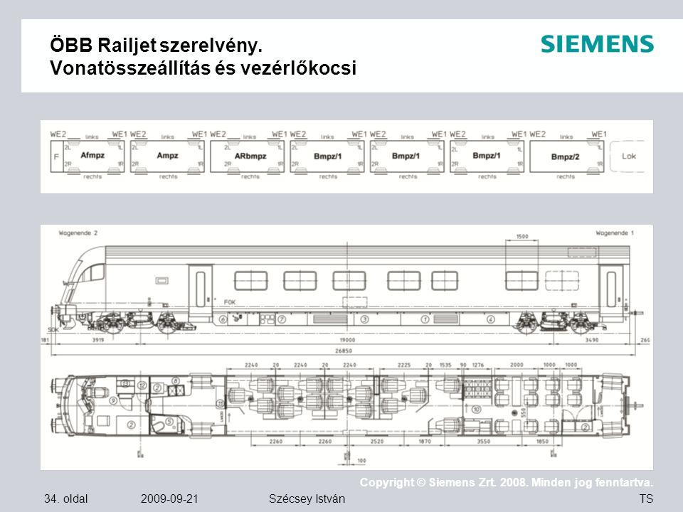 34. oldal 2009-09-21 Copyright © Siemens Zrt. 2008. Minden jog fenntartva. TS Szécsey István ÖBB Railjet szerelvény. Vonatösszeállítás és vezérlőkocsi