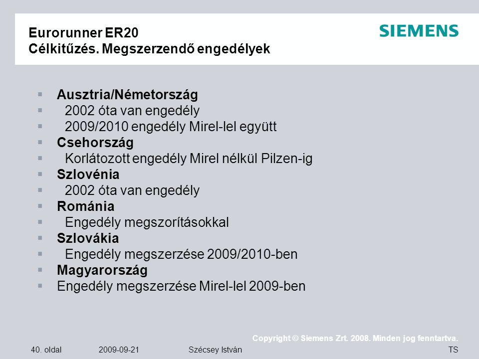 40. oldal 2009-09-21 Copyright © Siemens Zrt. 2008. Minden jog fenntartva. TS Szécsey István Eurorunner ER20 Célkitűzés. Megszerzendő engedélyek  Aus