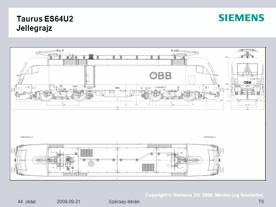 44. oldal 2009-09-21 Copyright © Siemens Zrt. 2008. Minden jog fenntartva. TS Szécsey István Taurus ES64U2 Jellegrajz