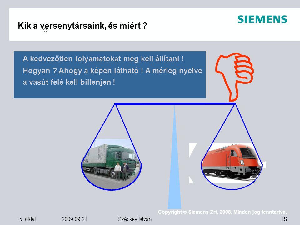5. oldal 2009-09-21 Copyright © Siemens Zrt. 2008. Minden jog fenntartva. TS Szécsey István Kik a versenytársaink, és miért ?   A kedvezőtlen folyam