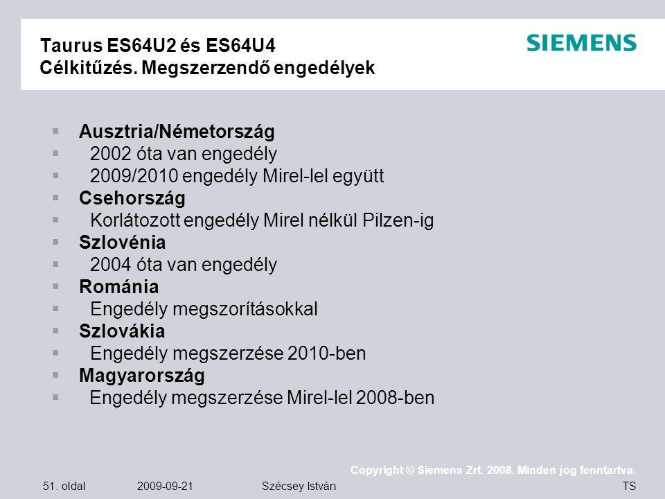 51. oldal 2009-09-21 Copyright © Siemens Zrt. 2008. Minden jog fenntartva. TS Szécsey István Taurus ES64U2 és ES64U4 Célkitűzés. Megszerzendő engedély