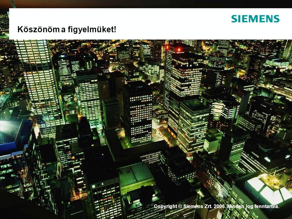 53. oldal 2009-09-21 Copyright © Siemens Zrt. 2008. Minden jog fenntartva. TS Szécsey István Köszönöm a figyelmüket! Copyright © Siemens Zrt. 2006. Mi