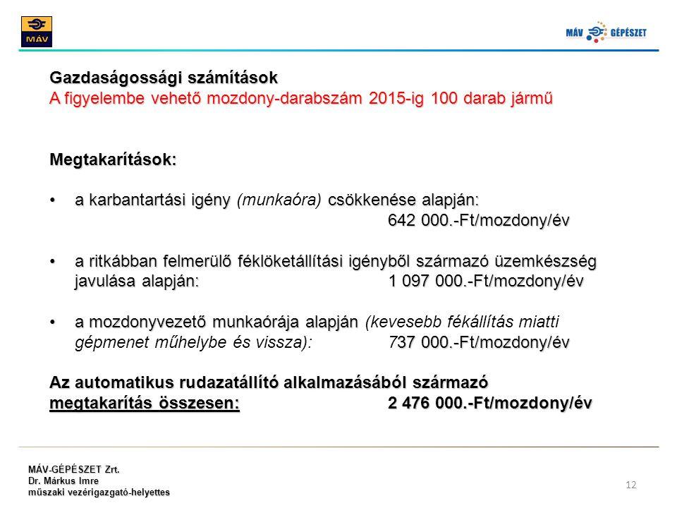 MÁV-GÉPÉSZET Zrt. Dr. Márkus Imre műszaki vezérigazgató-helyettes 12 Gazdaságossági számítások A figyelembe vehető mozdony-darabszám 2015-ig 100 darab