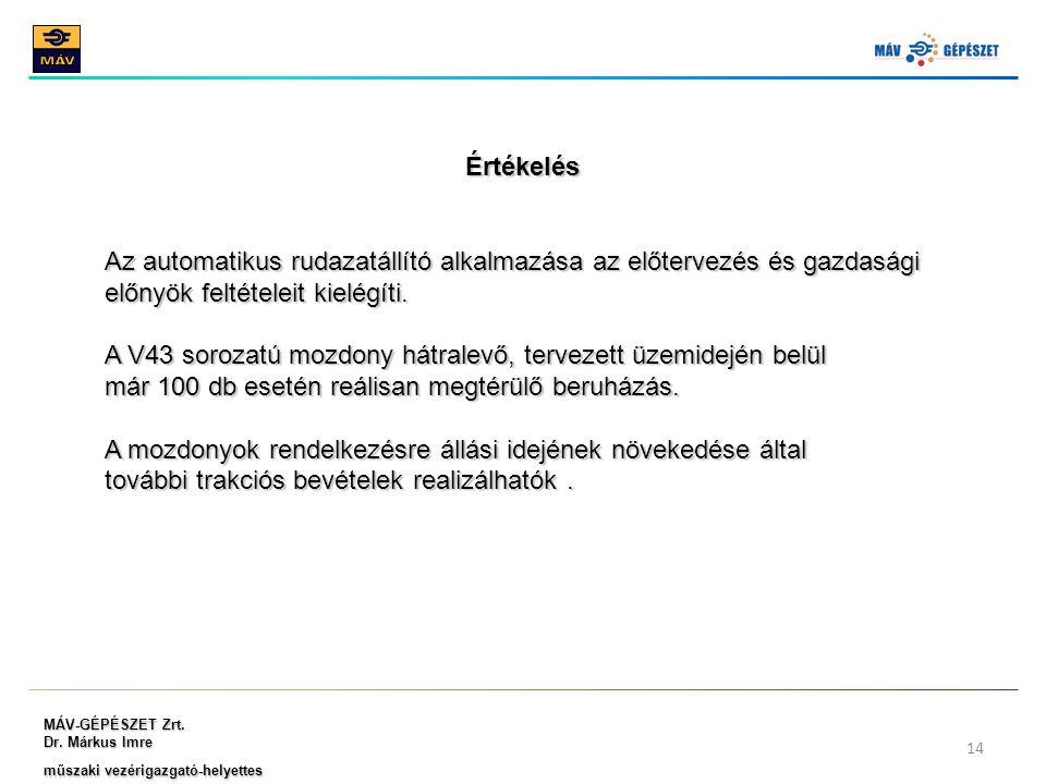 MÁV-GÉPÉSZET Zrt. Dr. Márkus Imre műszaki vezérigazgató-helyettes 14 Értékelés Az automatikus rudazatállító alkalmazása az előtervezés és gazdasági el