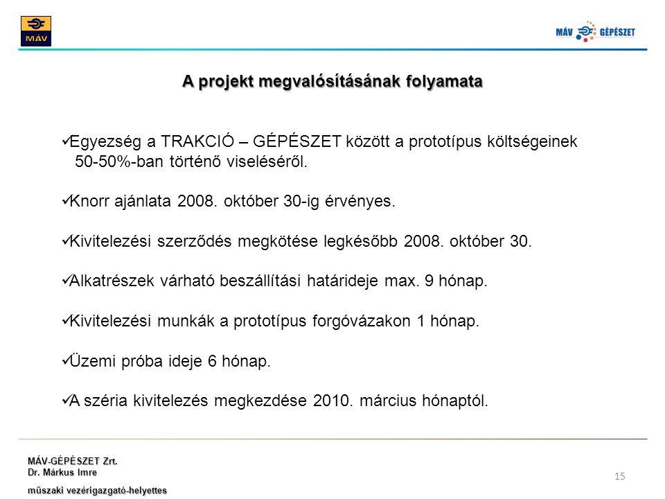 MÁV-GÉPÉSZET Zrt. Dr. Márkus Imre műszaki vezérigazgató-helyettes 15 A projekt megvalósításának folyamata Egyezség a TRAKCIÓ – GÉPÉSZET között a proto