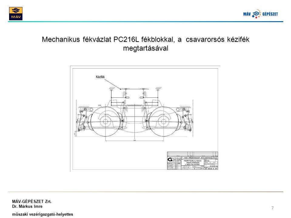 MÁV-GÉPÉSZET Zrt. Dr. Márkus Imre műszaki vezérigazgató-helyettes 7 Mechanikus fékvázlat PC216L fékblokkal, a csavarorsós kézifék megtartásával