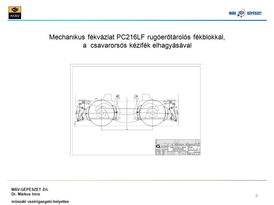 MÁV-GÉPÉSZET Zrt. Dr. Márkus Imre műszaki vezérigazgató-helyettes 8 Mechanikus fékvázlat PC216LF rugóerőtárolós fékblokkal, a csavarorsós kézifék elha