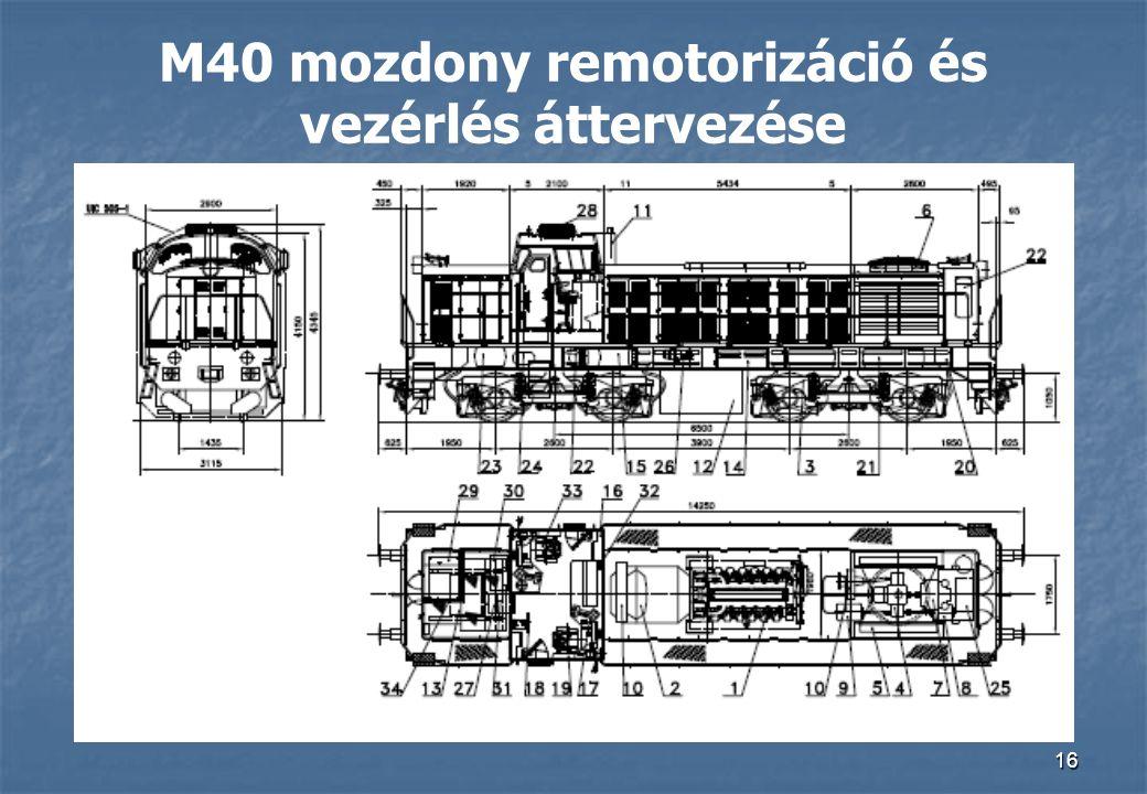 16 M40 mozdony remotorizáció és vezérlés áttervezése