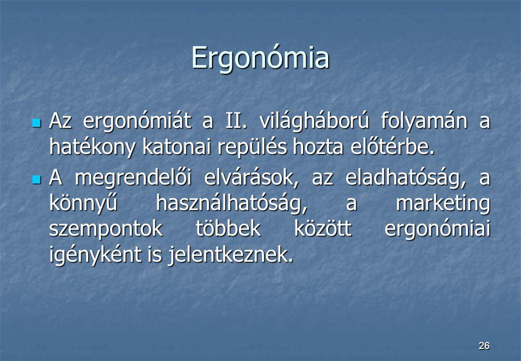 26 Ergonómia Az ergonómiát a II. világháború folyamán a hatékony katonai repülés hozta előtérbe. Az ergonómiát a II. világháború folyamán a hatékony k