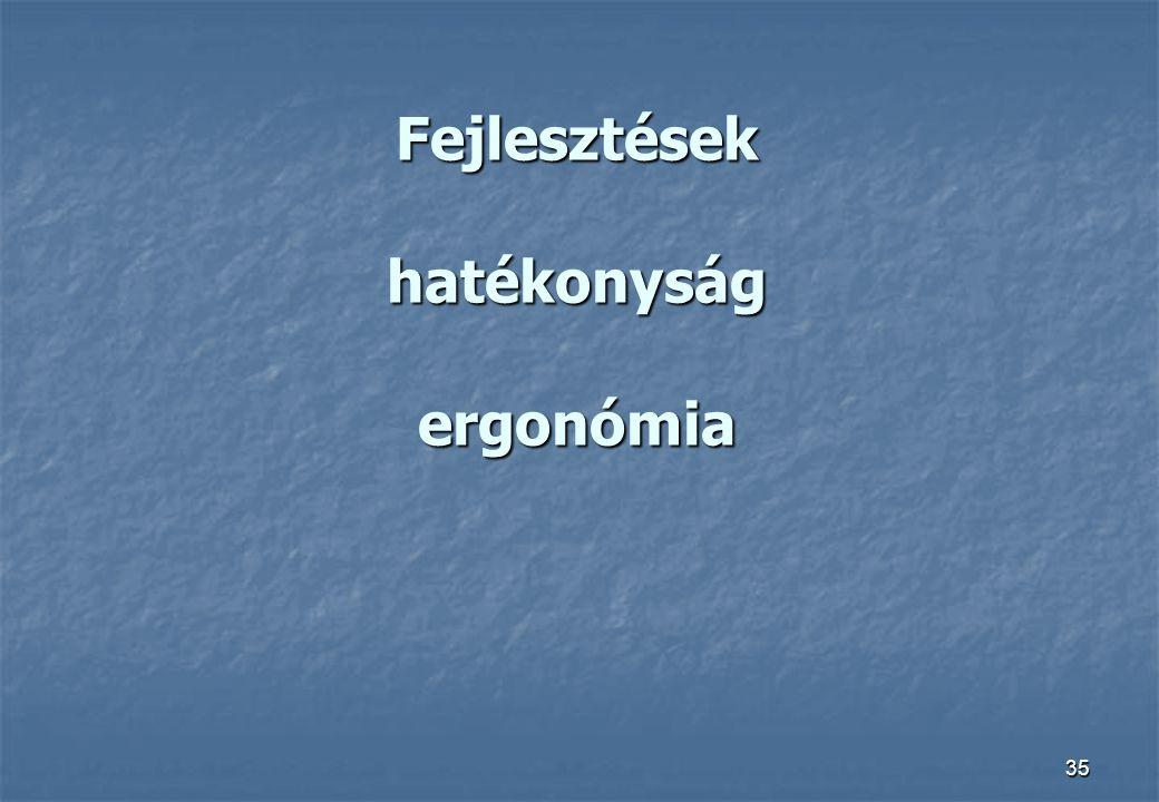 35 Fejlesztések hatékonyság ergonómia