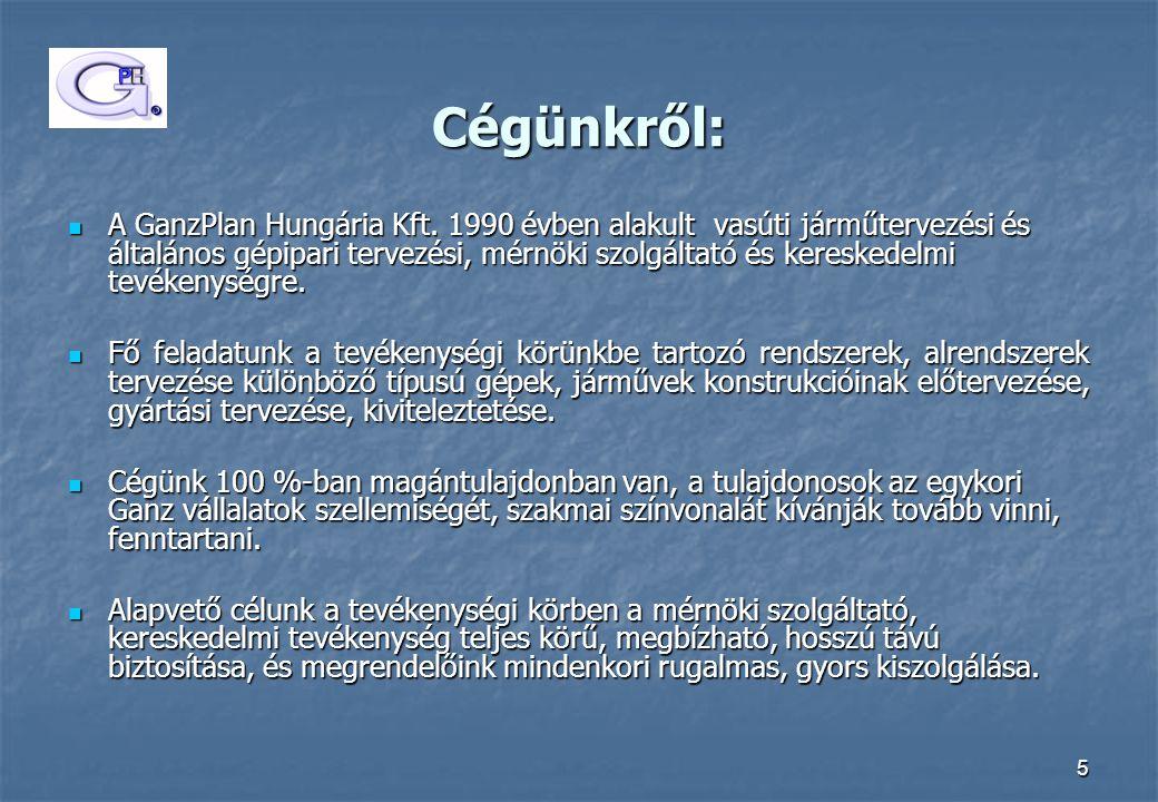 5 Cégünkről: A GanzPlan Hungária Kft. 1990 évben alakult vasúti járműtervezési és általános gépipari tervezési, mérnöki szolgáltató és kereskedelmi te