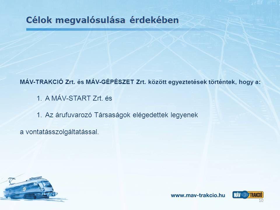 Célok megvalósulása érdekében 10 MÁV-TRAKCIÓ Zrt. és MÁV-GÉPÉSZET Zrt. között egyeztetések történtek, hogy a: 1.A MÁV-START Zrt. és 1.Az árufuvarozó T