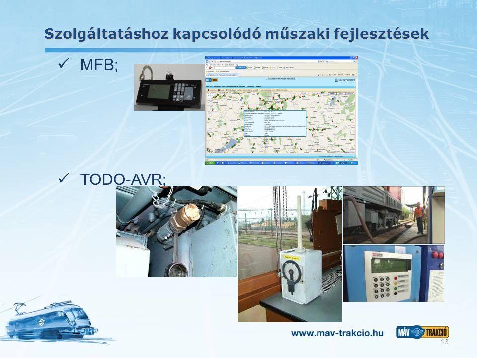 Szolgáltatáshoz kapcsolódó műszaki fejlesztések 13 MFB; TODO-AVR;