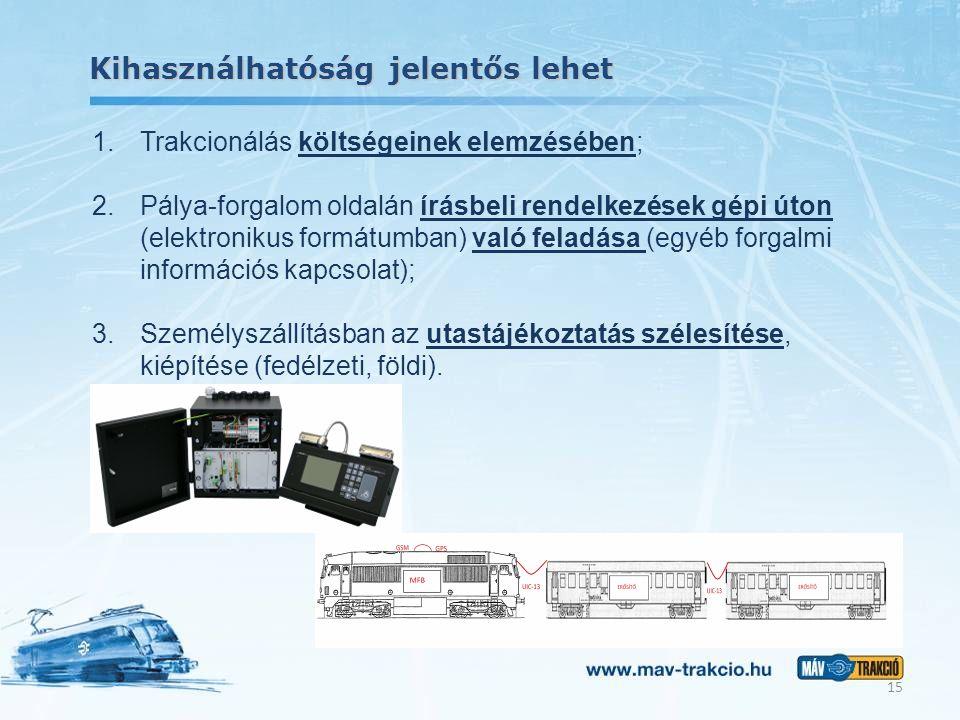 Kihasználhatóság jelentős lehet 15 1.Trakcionálás költségeinek elemzésében; 2.Pálya-forgalom oldalán írásbeli rendelkezések gépi úton (elektronikus fo