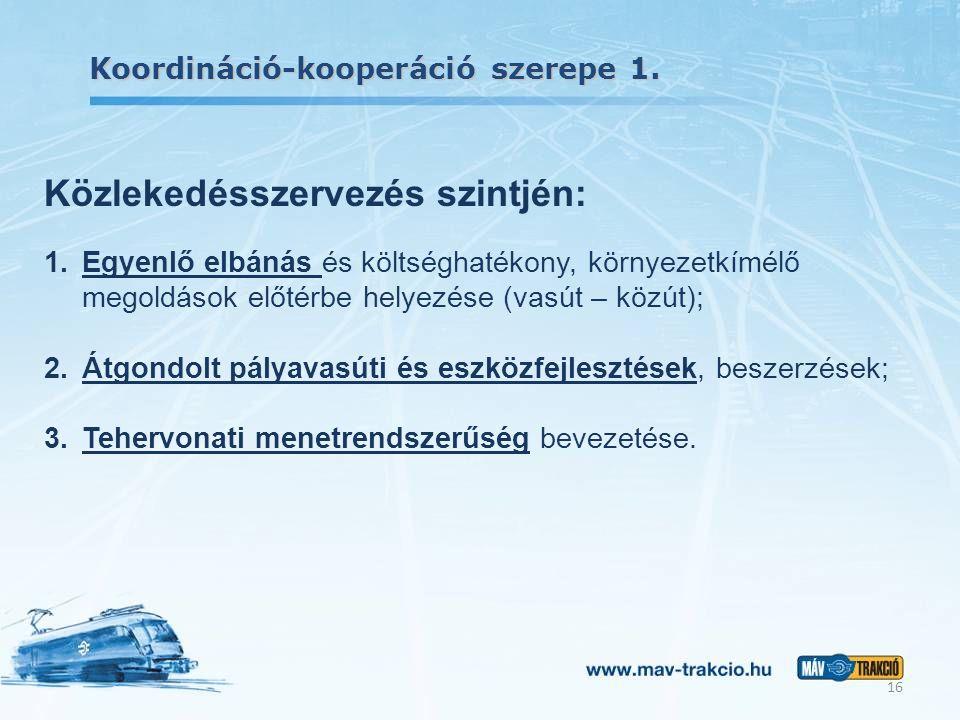 Koordináció-kooperáció szerepe 1. 16 Közlekedésszervezés szintjén: 1.Egyenlő elbánás és költséghatékony, környezetkímélő megoldások előtérbe helyezése