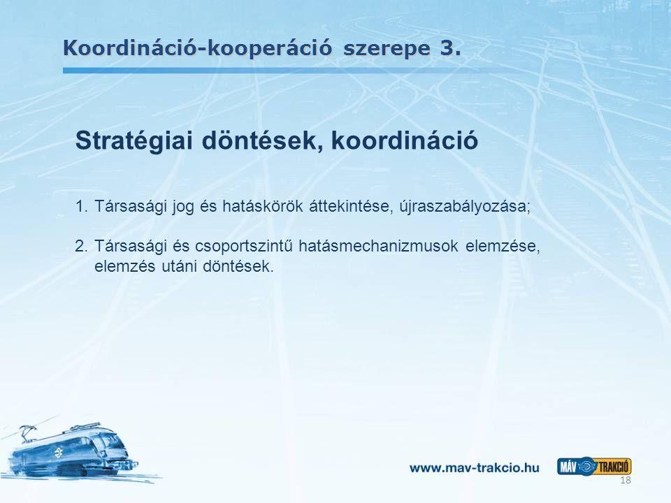 Koordináció-kooperáció szerepe 3. 18 Stratégiai döntések, koordináció 1.Társasági jog és hatáskörök áttekintése, újraszabályozása; 2.Társasági és csop