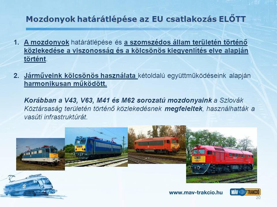 Mozdonyok határátlépése az EU csatlakozás ELŐTT 1.A mozdonyok határátlépése és a szomszédos állam területén történő közlekedése a viszonosság és a köl