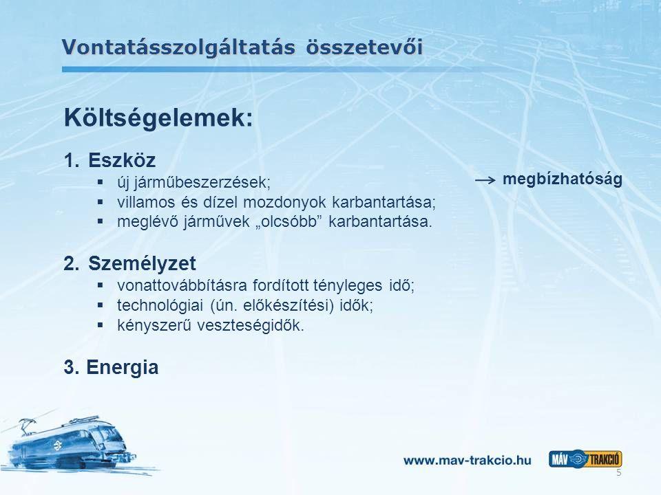 """Vontatásszolgáltatás összetevői 5 Költségelemek: 1. Eszköz  új járműbeszerzések;  villamos és dízel mozdonyok karbantartása;  meglévő járművek """"olc"""