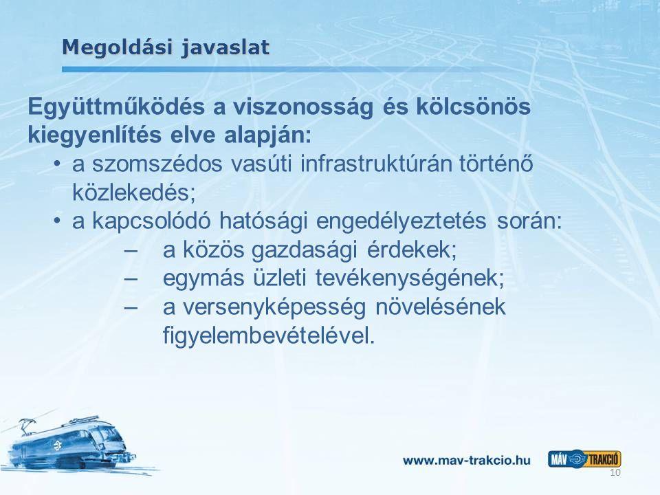 Megoldási javaslat Együttműködés a viszonosság és kölcsönös kiegyenlítés elve alapján: a szomszédos vasúti infrastruktúrán történő közlekedés; a kapcsolódó hatósági engedélyeztetés során: –a közös gazdasági érdekek; –egymás üzleti tevékenységének; –a versenyképesség növelésének figyelembevételével.