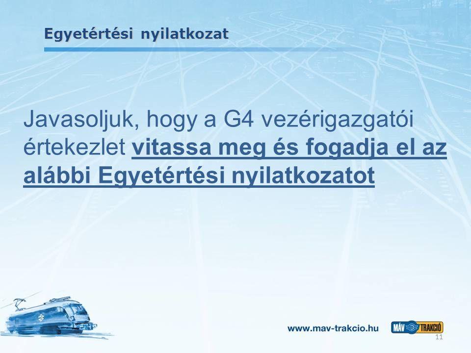 Egyetértési nyilatkozat Javasoljuk, hogy a G4 vezérigazgatói értekezlet vitassa meg és fogadja el az alábbi Egyetértési nyilatkozatot 11
