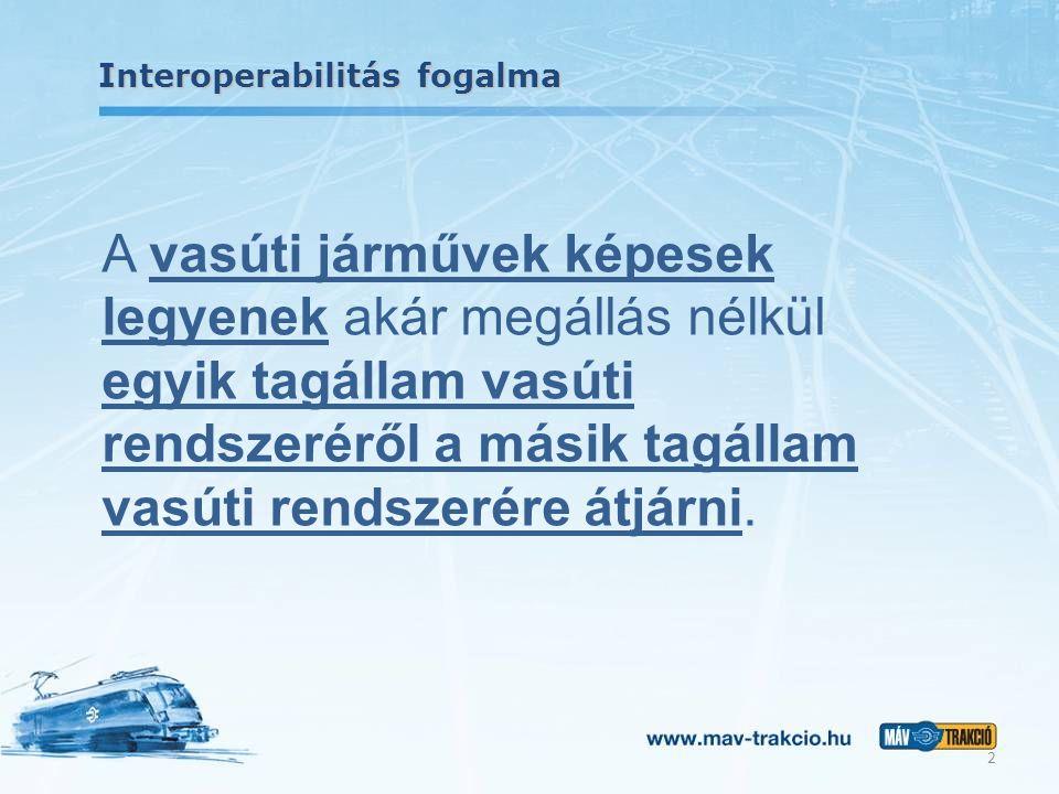 Interoperabilitás fogalma A vasúti járművek képesek legyenek akár megállás nélkül egyik tagállam vasúti rendszeréről a másik tagállam vasúti rendszeré