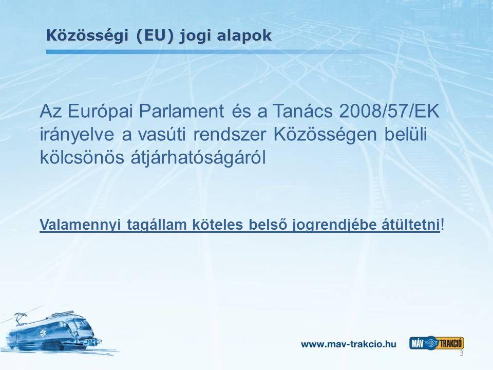 Közösségi (EU) jogi alapok Az Európai Parlament és a Tanács 2008/57/EK irányelve a vasúti rendszer Közösségen belüli kölcsönös átjárhatóságáról Valame