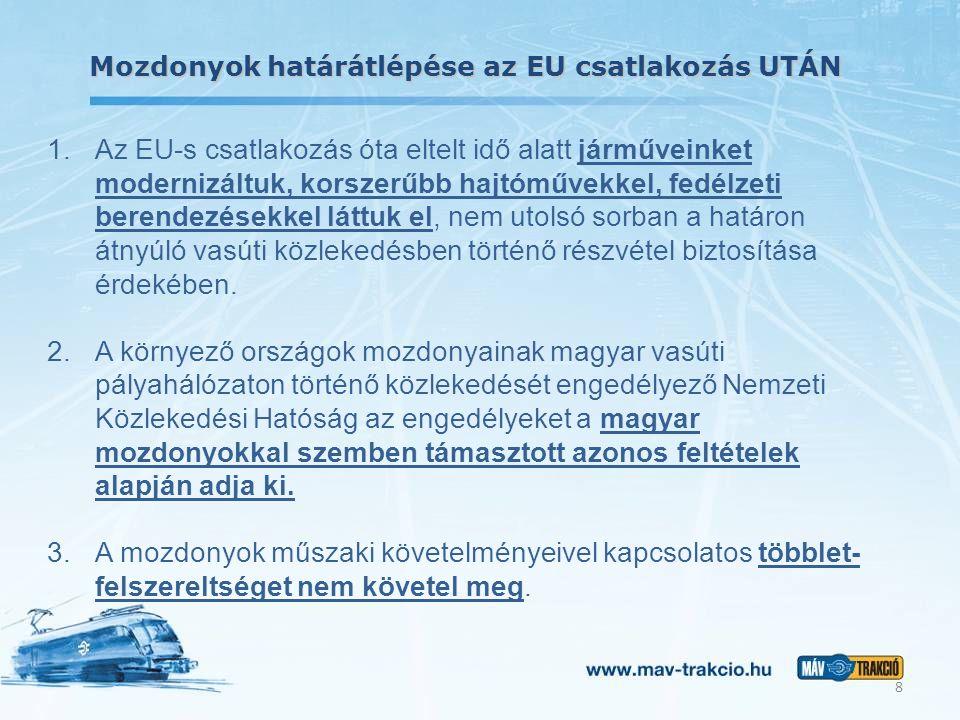 Mozdonyok határátlépése az EU csatlakozás UTÁN 1.Az EU-s csatlakozás óta eltelt idő alatt járműveinket modernizáltuk, korszerűbb hajtóművekkel, fedélzeti berendezésekkel láttuk el, nem utolsó sorban a határon átnyúló vasúti közlekedésben történő részvétel biztosítása érdekében.