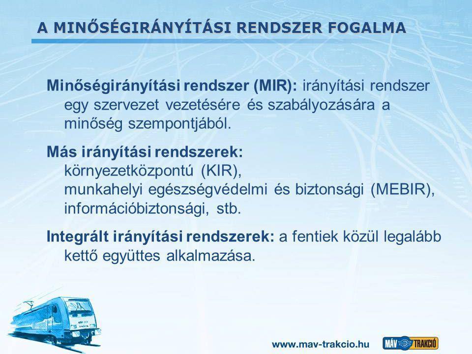 A MINŐSÉGIRÁNYÍTÁSI RENDSZER FOGALMA Minőségirányítási rendszer (MIR): irányítási rendszer egy szervezet vezetésére és szabályozására a minőség szempo