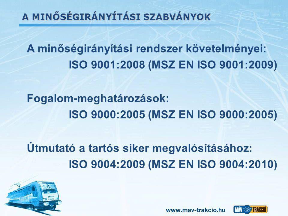 A MINŐSÉGIRÁNYÍTÁSI SZABVÁNYOK A minőségirányítási rendszer követelményei: ISO 9001:2008 (MSZ EN ISO 9001:2009) Fogalom-meghatározások: ISO 9000:2005