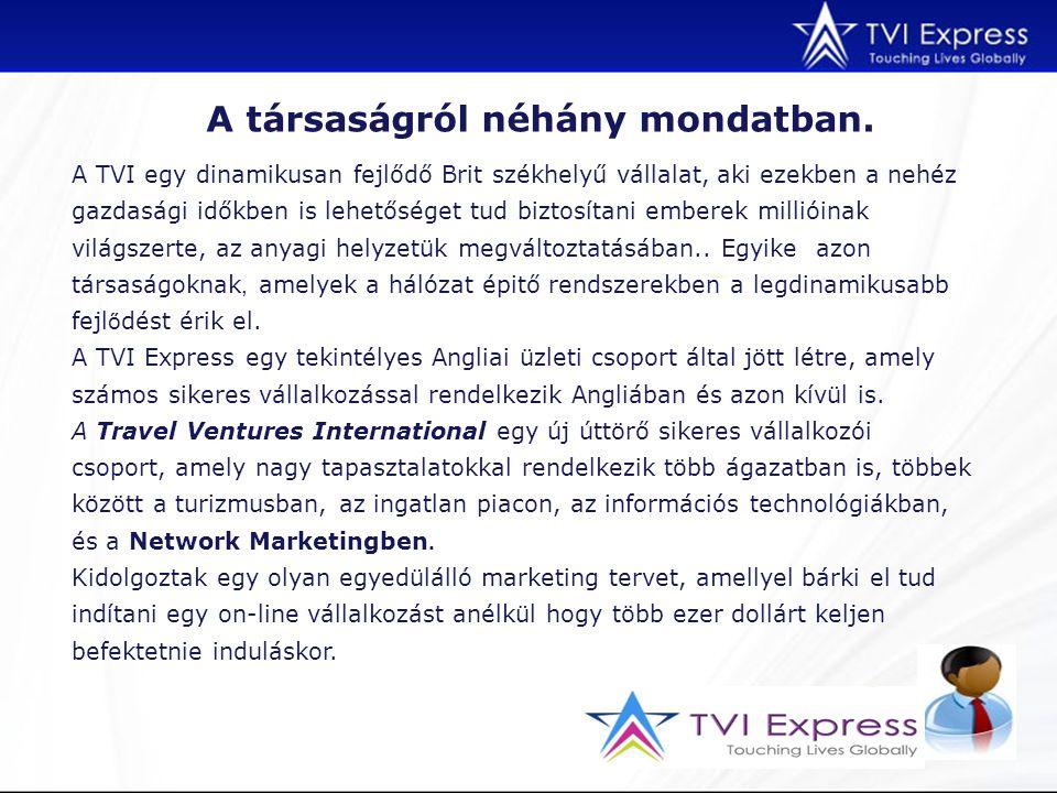 A TVI egy dinamikusan fejlődő Brit székhelyű vállalat, aki ezekben a nehéz gazdasági időkben is lehetőséget tud biztosítani emberek millióinak világszerte, az anyagi helyzetük megváltoztatásában..