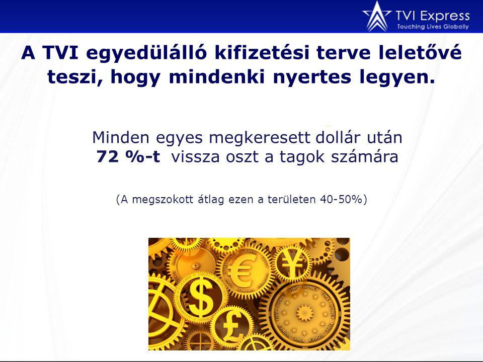 A TVI egyedülálló kifizetési terve leletővé teszi, hogy mindenki nyertes legyen. (A megszokott átlag ezen a területen 40-50%) Minden egyes megkeresett