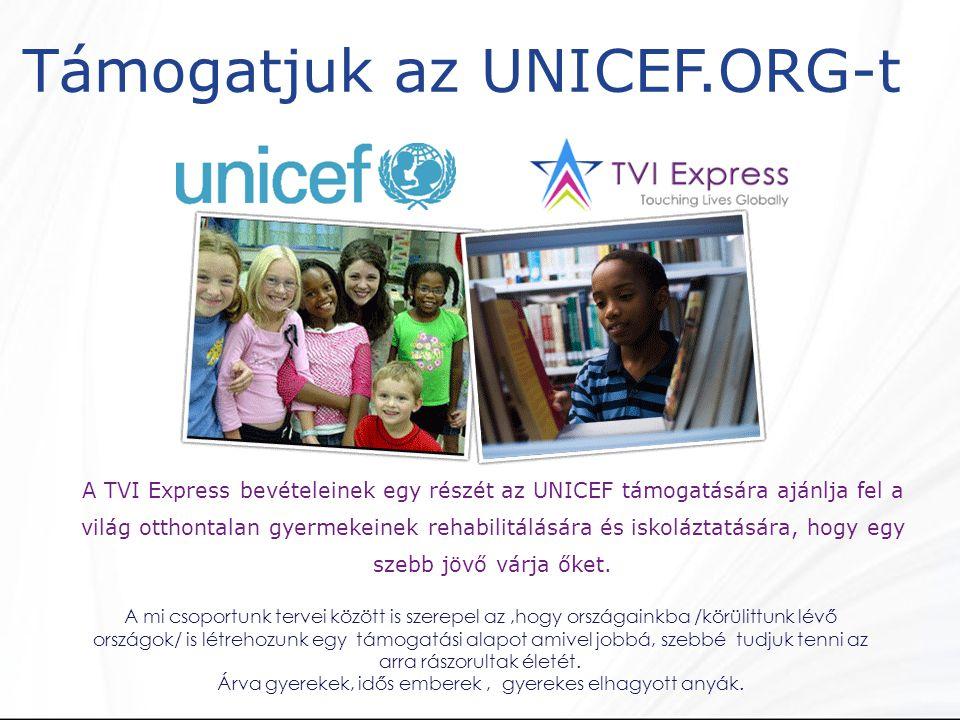 Támogatjuk az UNICEF.ORG-t A TVI Express bevételeinek egy részét az UNICEF támogatására ajánlja fel a világ otthontalan gyermekeinek rehabilitálására és iskoláztatására, hogy egy szebb jövő várja őket.